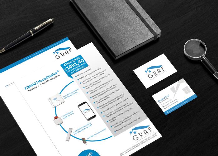 Referenz Graf Hauselemente - Firmenlogo, Geschäftsausstattung, Website, Printwerbung